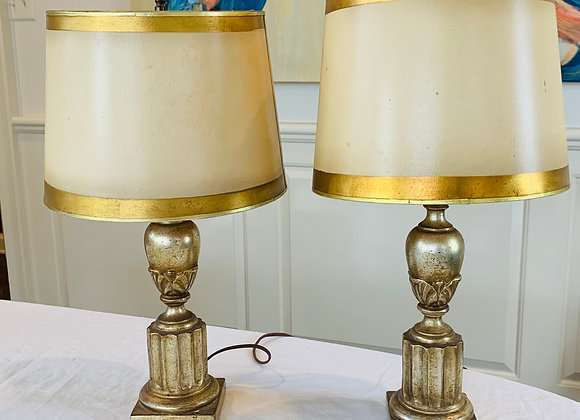 PAIR OF GILDED LAMPS