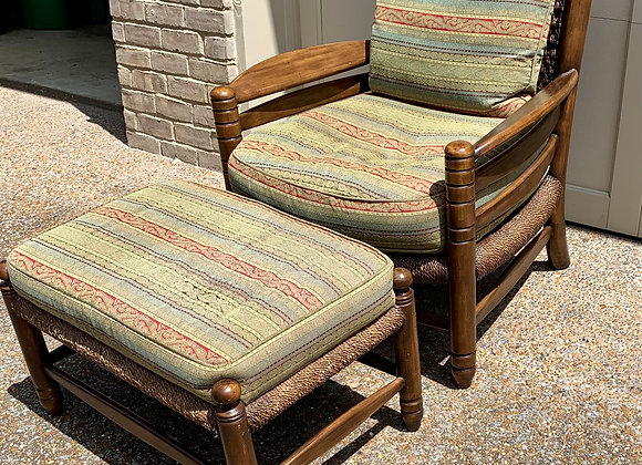 PINE ARMCHAIR WITH UPHOLSTERED CUSHIONS
