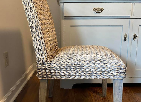 TABLE AND 6 SEAGRASS CHAIRS