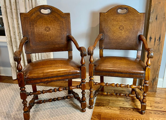 PAIR OF ENGLISH LEATHER ARMCHAIRS