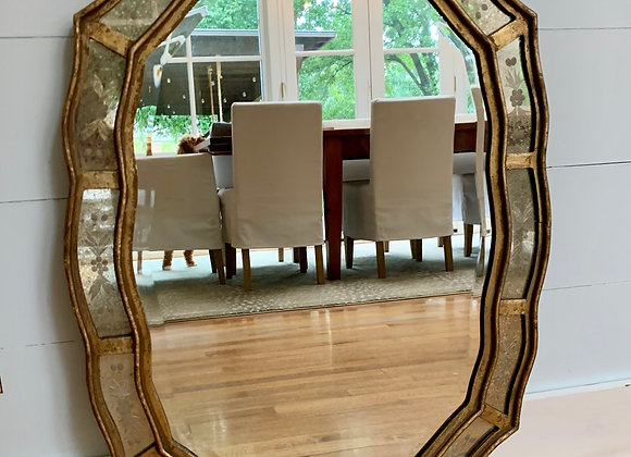 ETCHED MIRROR WITH GILT TRIM