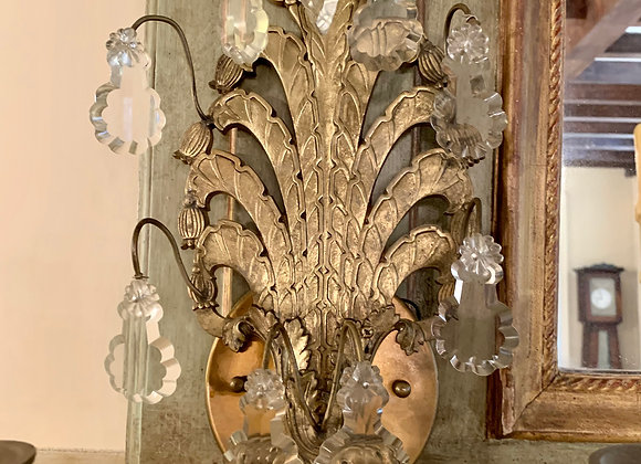 PAIR OF FRENCH CRYSTAL GILT SCONCES