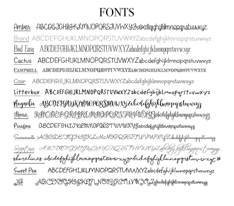 Fonts available custo printing