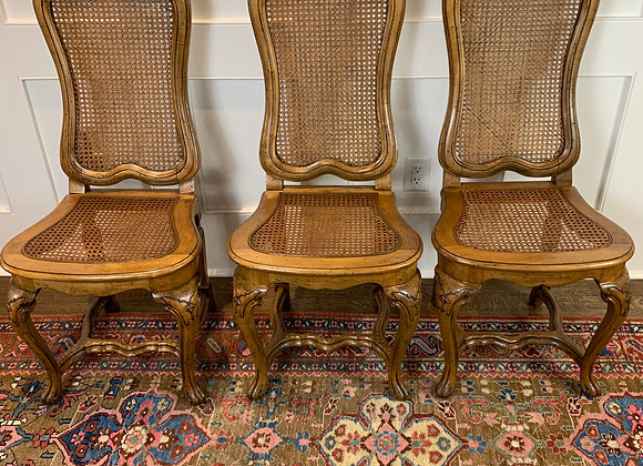 SET OF 5 CANEBACK DINING CHAIRS