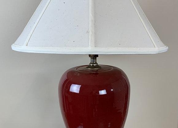 CHINESE RED CERAMIC LAMP