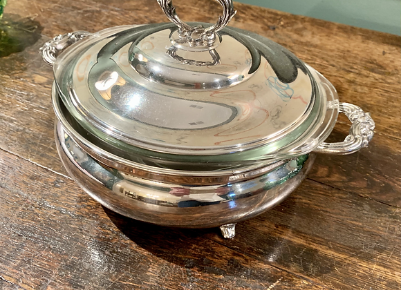 SILVERPLATE FOOTED CASSEROLE DISH