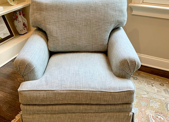 PAIR OF PALE BLUE CLUB CHAIRS