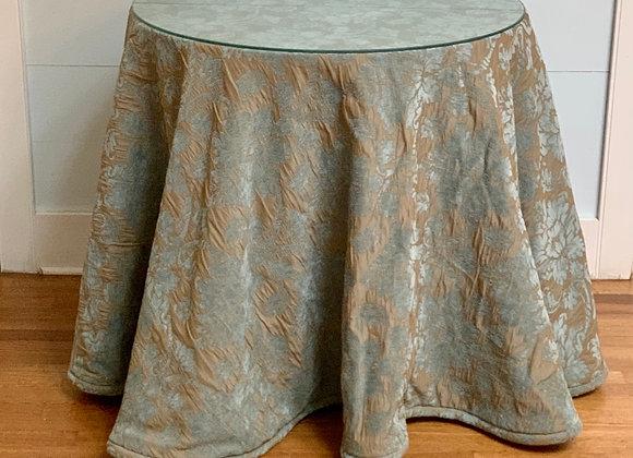 SKIRTED GLASS TOP SIDE TABLE