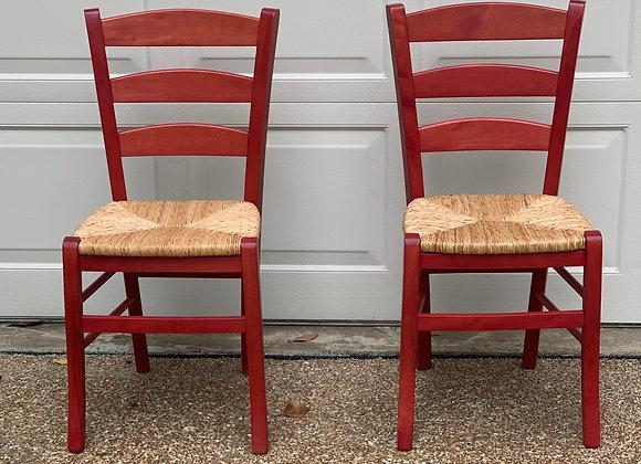 PAIR OF RED RUSH SEAT CHAIRS