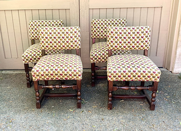 SET OF 4 ANTIQUE GAME CHAIRS