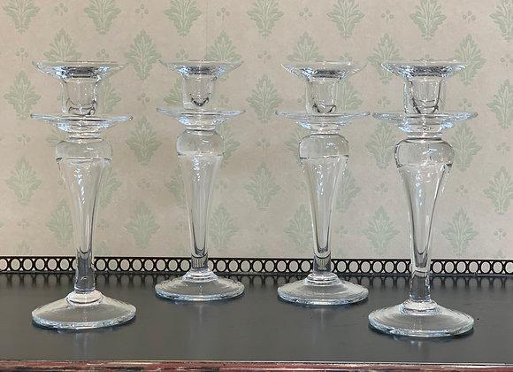 4 GLASS CANDLESTICKS