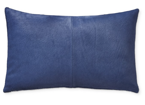 BLUE COWHIDE PILLOW WITH DOWN INSERT