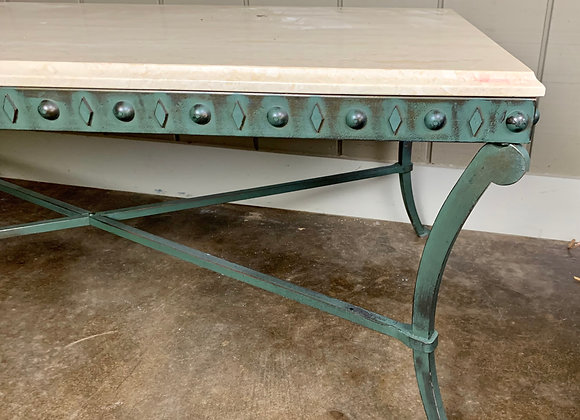 COFFEE TABLE W/VERDE FINISH & NATURAL STONE TOP