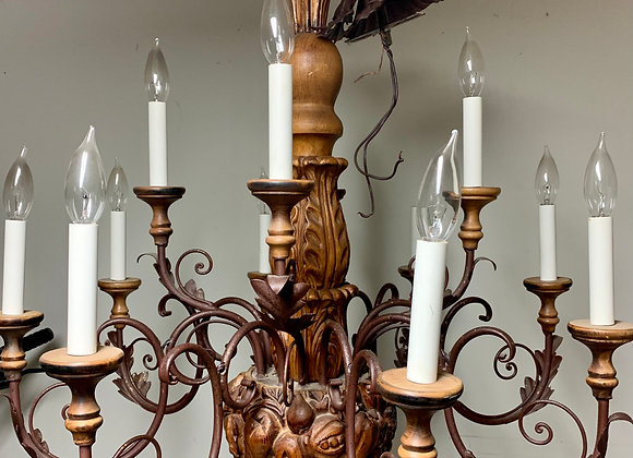 CARVED WOOD & IRON CHANDELIER