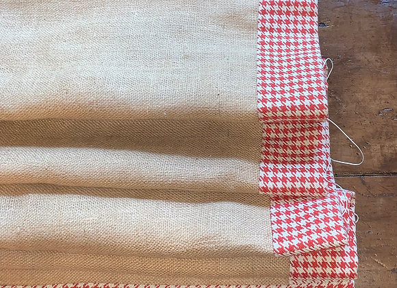 BURLAP ROMAN SHADE WITH RED GINGHAM TRIM