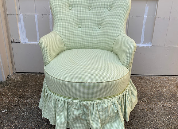 GREEN GINGHAM CHILDS BUTTON CHAIR