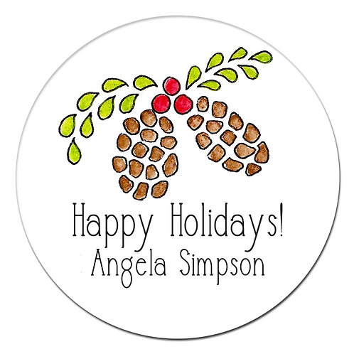 Pinecone Holly Sticker
