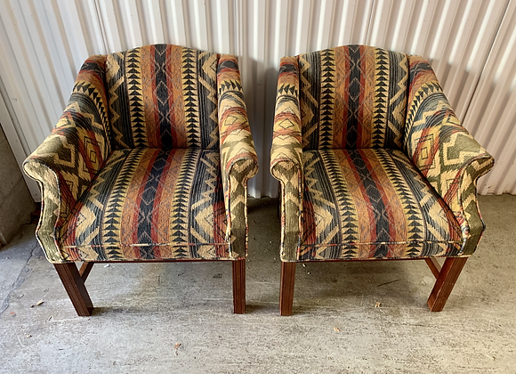 PAIR OF VINTAGE UPHOLSTERED ARM CHAIRS