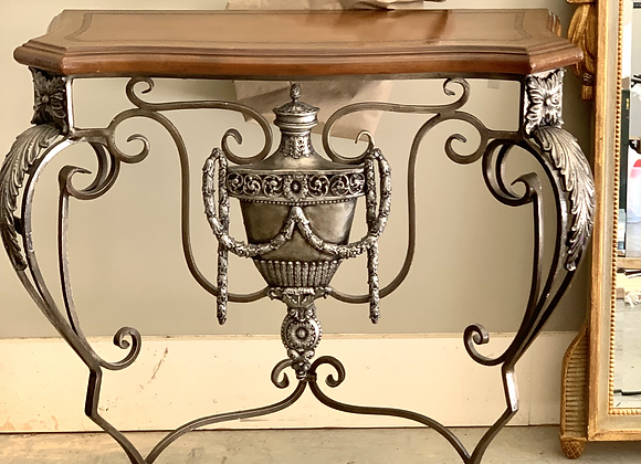 IRON FORGED CONSOLE W/URN DETAIL