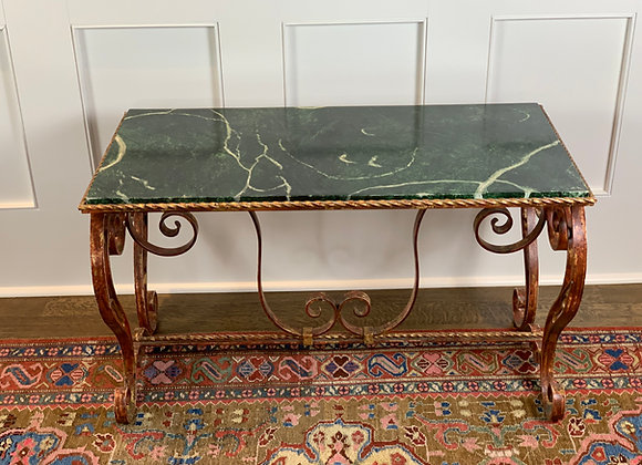 GOLD COFFEE TABLE WITH FAUX MARBLE TOP