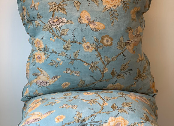 PAIR OF BLUE FLORAL PILLOWS