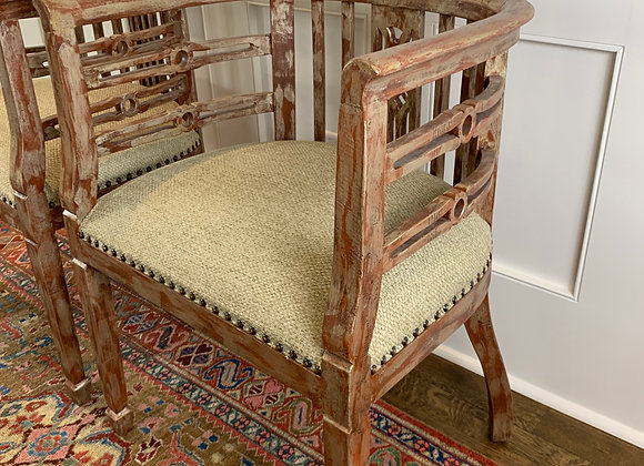 PAIR OF BARREL BACK UPHOLSTERED CHAIRS