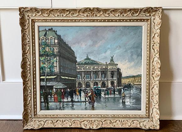 PAINTING OF STREET SCENE AT L'OPERA PARIS