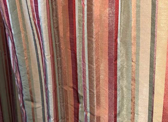 PAIR OF SILK STRIPED DRAPERY PANELS WITH GOBLET PLEAT