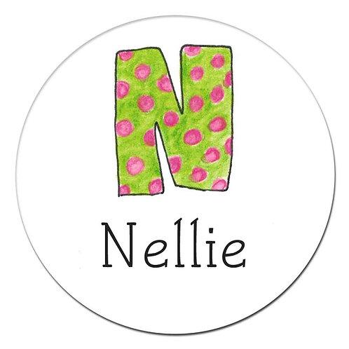 N Green Pink Spots