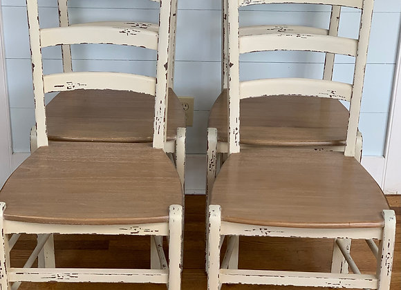 8 DISTRESSED DINING CHAIRS