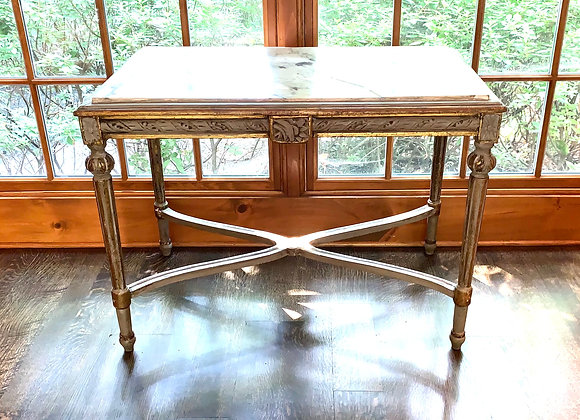 ANTIQUE HANDPAINTED TABLE WITH MARBLE TOP