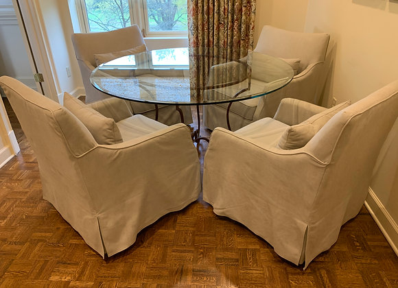 4 UPHOLSTERED SWIVEL CHAIRS