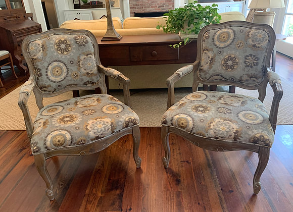 PAIR OF FRENCH UPHOLSTERED FAUTEUILS