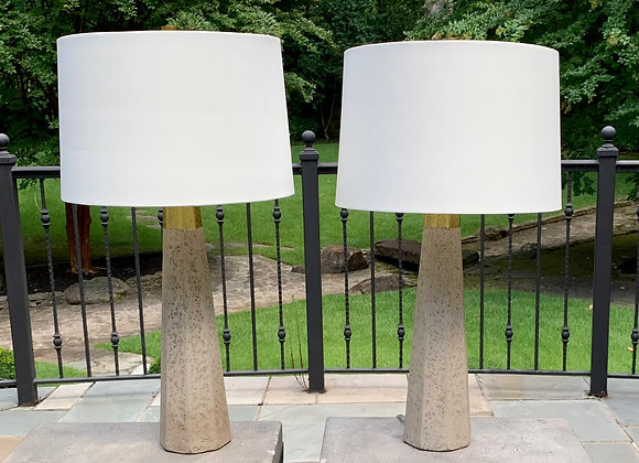 PAIR OF CONCRETE & GOLD TABLE LAMPS