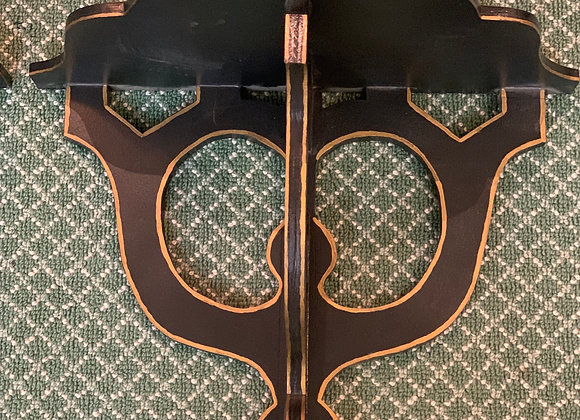 SET OF BLACK AND GOLD WALL BRACKETS