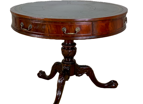 MAHOGANY DRUM TABLE WITH GREEN LEATHER TOP