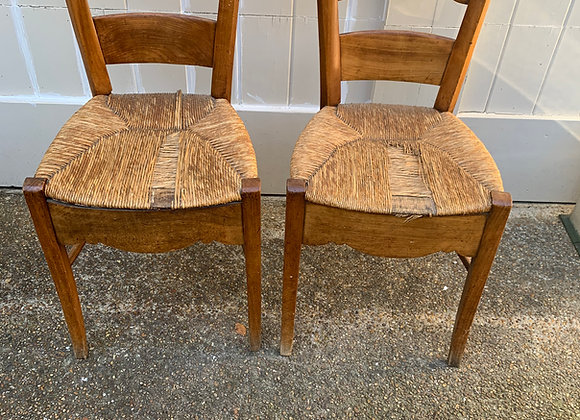 PAIR OF ANTIQUE FRUITWOOD RUSH CHAIRS