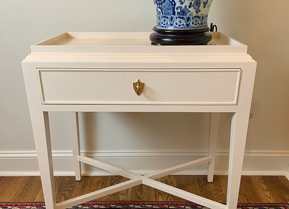 PAIR OF WHITE SIDE TABLES