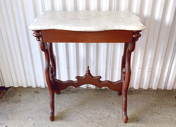 ANTIQUE MARBLE TOP 1 DRAWER TABLE