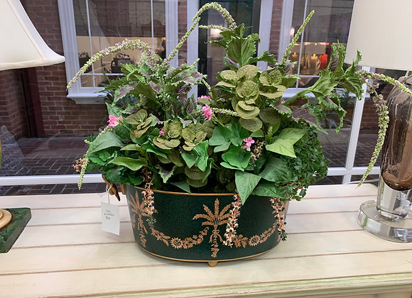 TOLE PLANTER WITH FAUX GREENERY