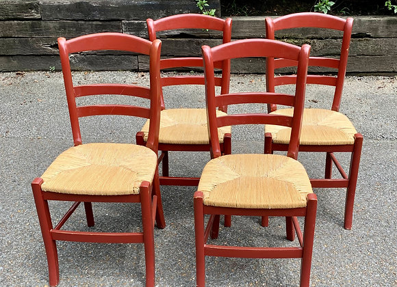 4 RED RUSH SEAT CHAIRS