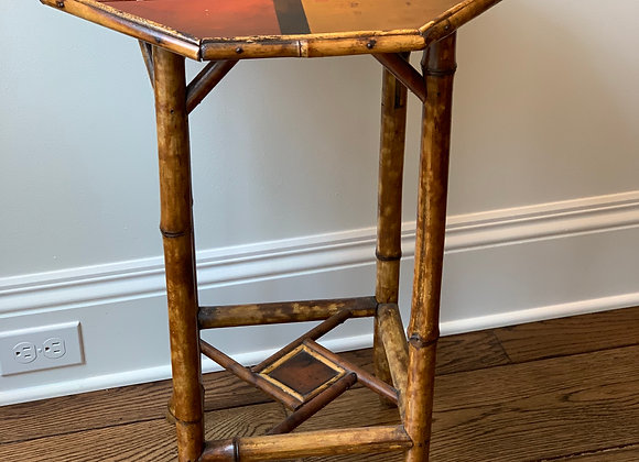 HANDPAINTED BAMBOO SIDE TABLE