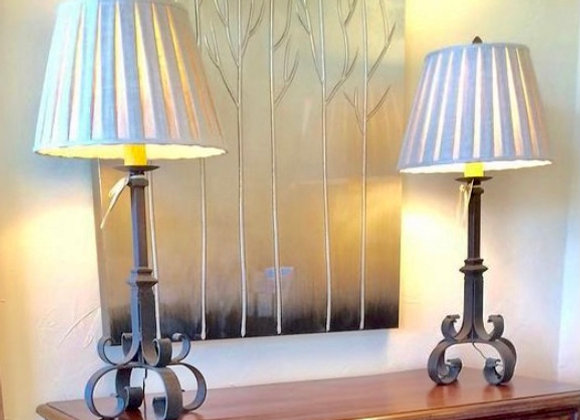 PAIR OF IRON SCROLL LAMPS
