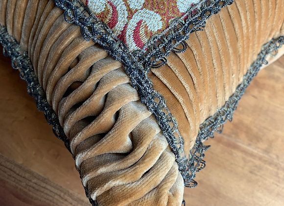 TAPESTRY PILLOW WITH PLEATED VELVET TRIM DETAIL