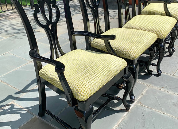 6 BLACK LACQUER UPHOLSTERED DINING CHAIRS