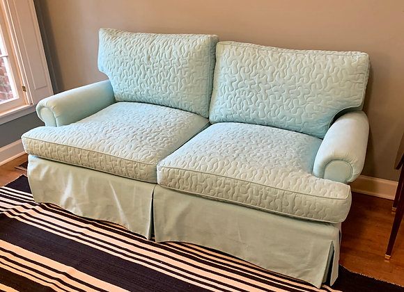 CUSTOM QUILTED BLUE LOVESEAT