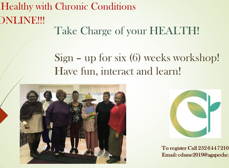 Living Healthy with Chronic Conditions goes Virtual. Call 252 644 7210 for more  details.