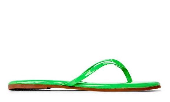 Best Authentic Women s Yosi Samra Neon Green Roee Soft Patent Leather Flip Flips Neon Green_01