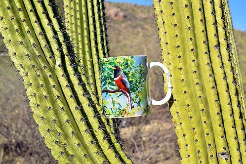Taza de cerámica con fotografía de ave trogón elegante