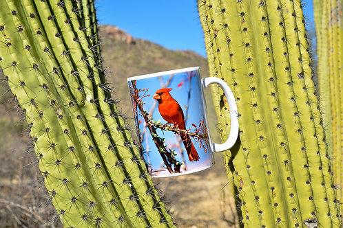 Taza de cerámica con fotografía de Cardenal rojo